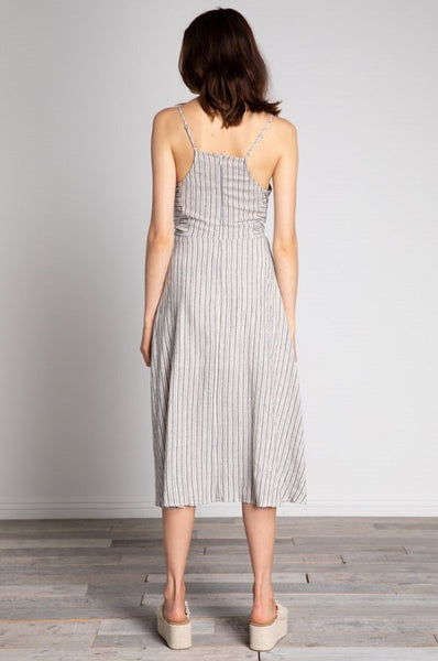 Striped Tie Front Midi Sundress