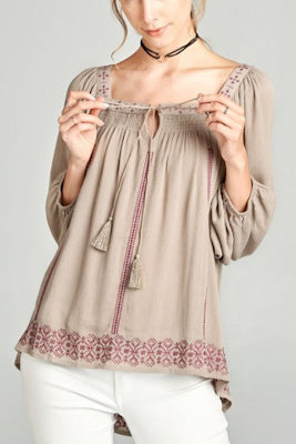 Taupe Embroidered Peasant Blouse