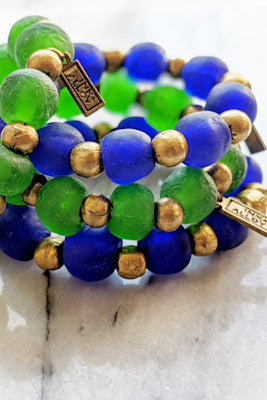 Ghana Glass and Brass Bracelet