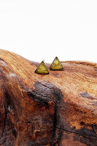 Tiny Triangle Studs - Green Opalite