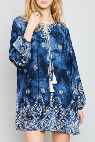 Indigo Printed Shift Dress