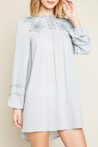 Long-Sleeved Floral Lace Tunic