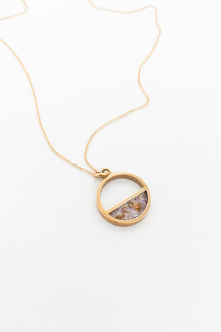 Petite Half Moon Necklace - Amethyst & Gold Flake