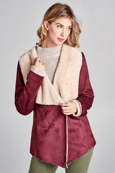 Wine Shearling Jacket