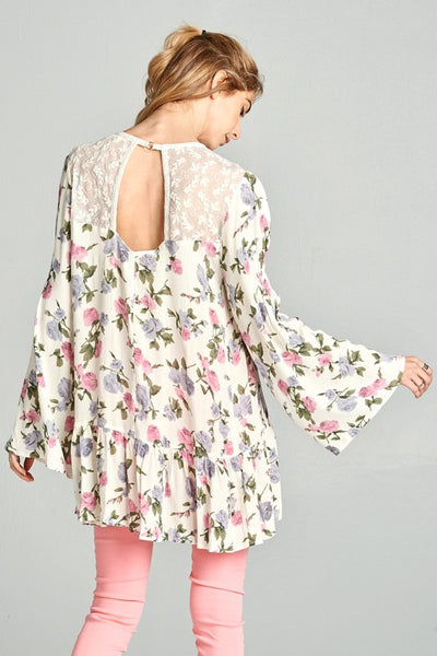 Cream Floral Tunic Blouse