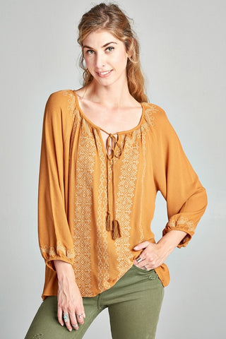 Embroidered Mustard Peasant Blouse