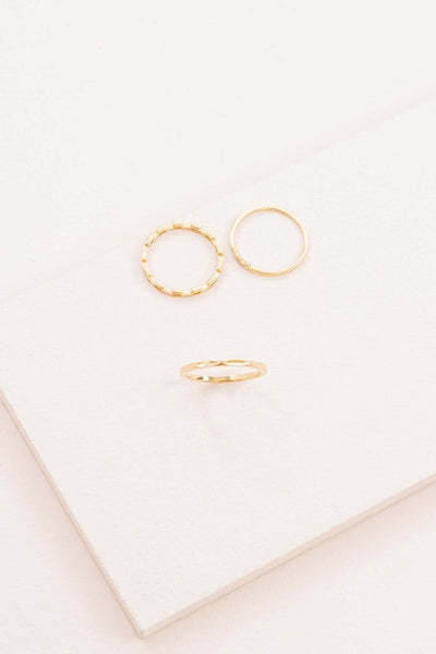 Indent and Stone Ring Set
