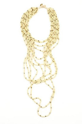 Ivory and Gold Multi-Strand Bead Necklace