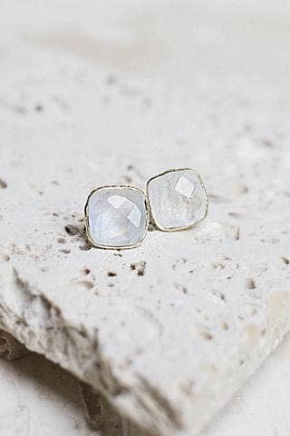 Lizzy Moonstone Stud Earrings