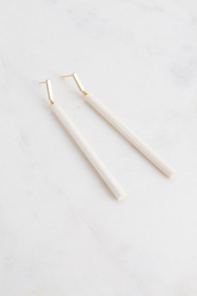 White Matchstick Wood Earrings
