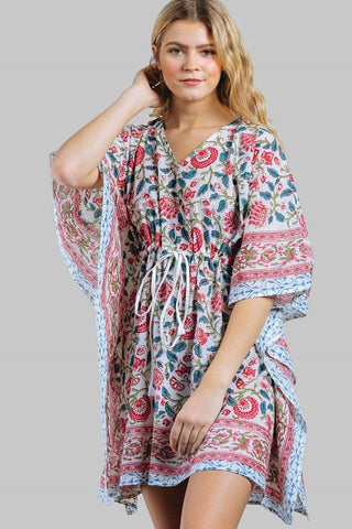 Floral Cotton Kaftan - Coral/Blue