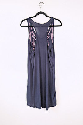 Navy Embroidered Tank Dress