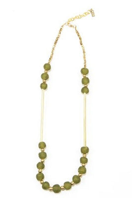 Olive Glass and Brass Bar Necklace