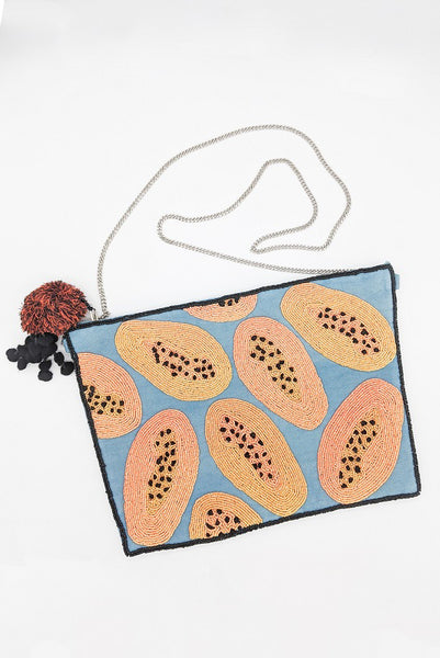 Papaya Beaded Clutch