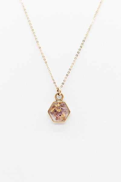 Petite Hexagon Necklace - Amethyst & Gold Leaf