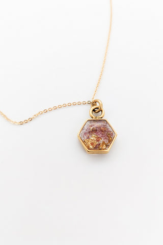 Petite Hexagon Necklace - Garnet & Gold Leaf