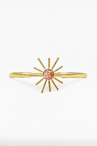 Sunshine Bracelet Cuff - Pink Opal and Gold Leaf