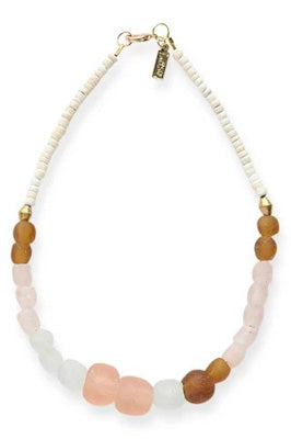 Pink and Amber Glass, Brass, and White Coconut Necklace
