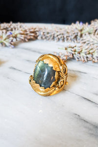 Oversized Labradorite Leafy Cocktail Ring