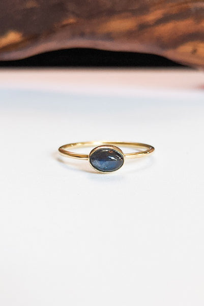 Natural Stone Stacking Ring - Oval Labradorite