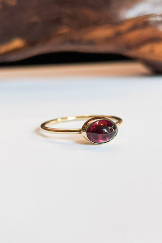 Natural Stone Stacking Ring - Oval Garnet