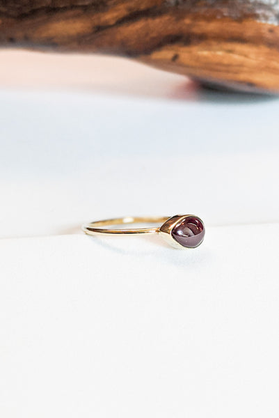 Natural Stone Stacking Ring - Teardrop Garnet