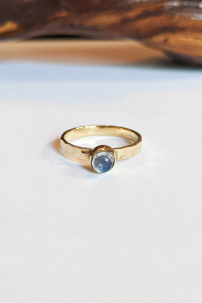 Natural Stone Hammered Stacking Ring - Round Moonstone
