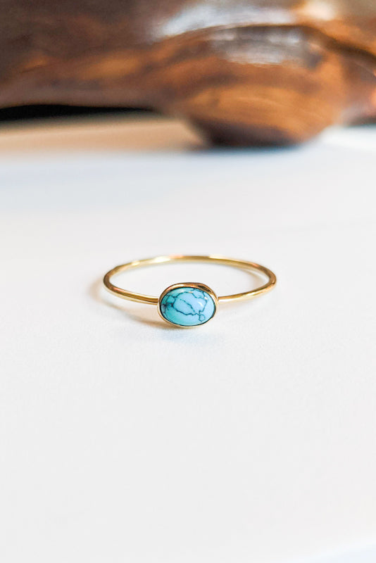 Natural Stone Stacking Ring - Oval Turquoise