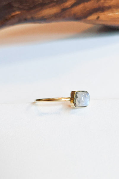 Natural Stone Stacking Ring - Square Moonstone