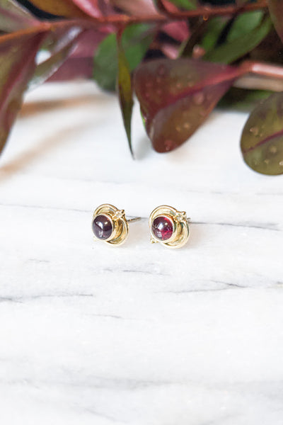 Garnet and Brass Decorated Studs