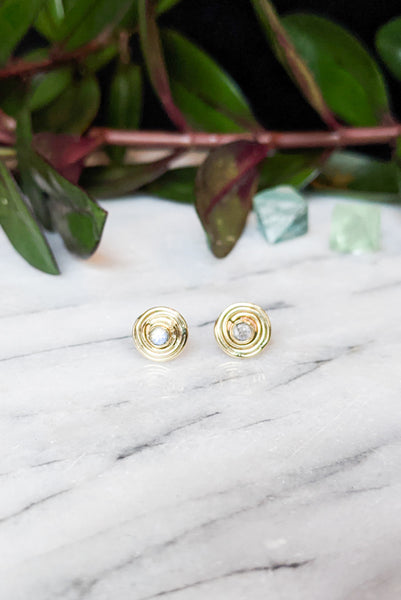 Brass Coil Moonstone Studs