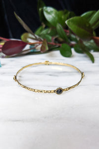 Floral Brass Bangle - Onyx