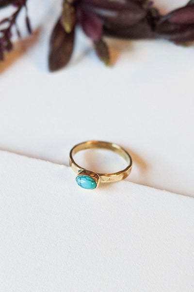 Natural Stone Hammered Stacking Ring - Oval Turquoise
