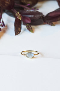 Natural Stone Stacking Ring - Oval Moonstone