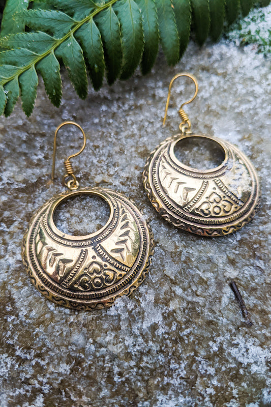 Etched Crescent Moon Earrings