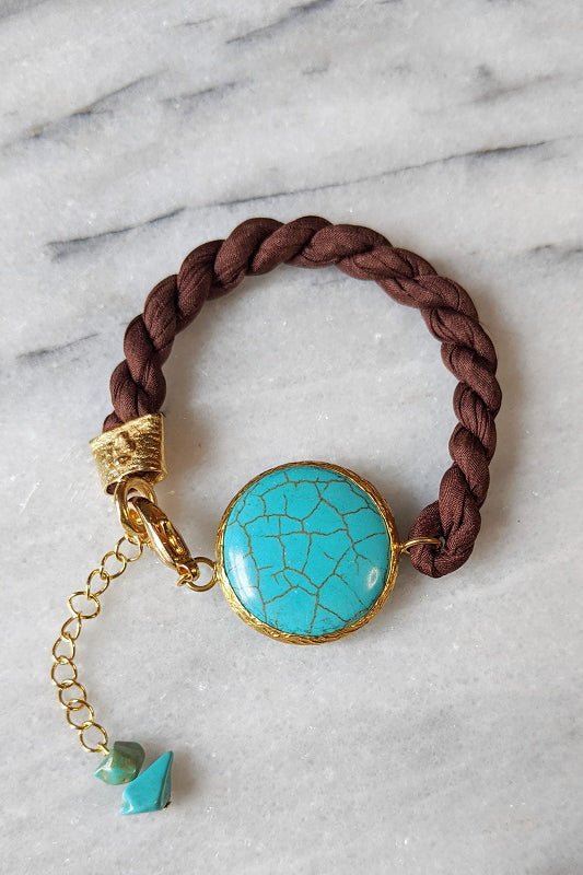 Silk and Stone Bracelet - Rich Brown & Turquoise