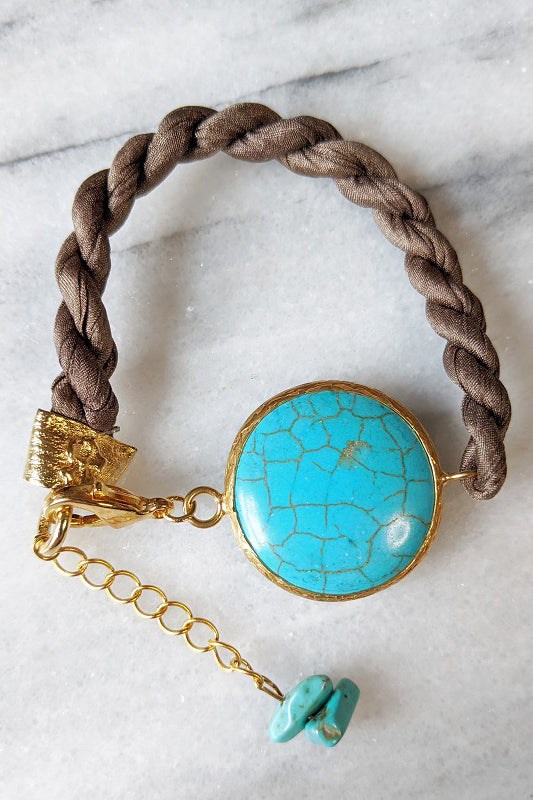 Silk and Stone Bracelet - Taupe & Turquoise