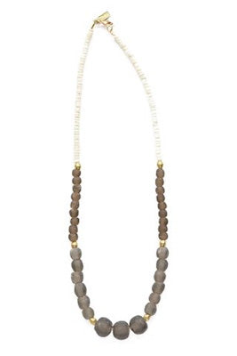 Taupe Graduating Glass, Brass, and Coconut Necklace