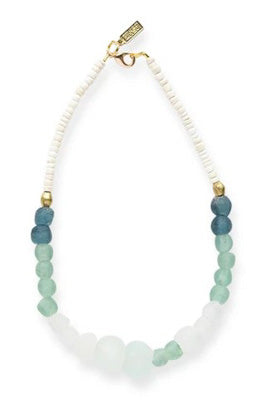 Teal and Aqua Glass, Brass, and White Coconut Necklace