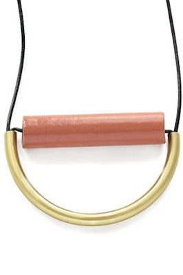 Terra Cotta Ceramic and Brass Necklace