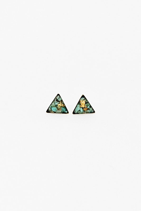 Tiny Triangle Studs - Turquoise & Gold Leaf