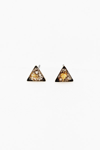 Tiny Triangle Studs - White Turquoise & Gold Leaf