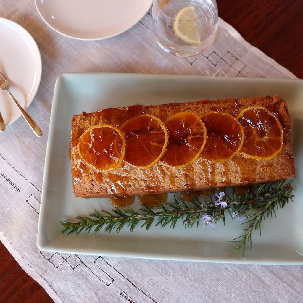 Orange Polenta Cake with Rosemary Syrup