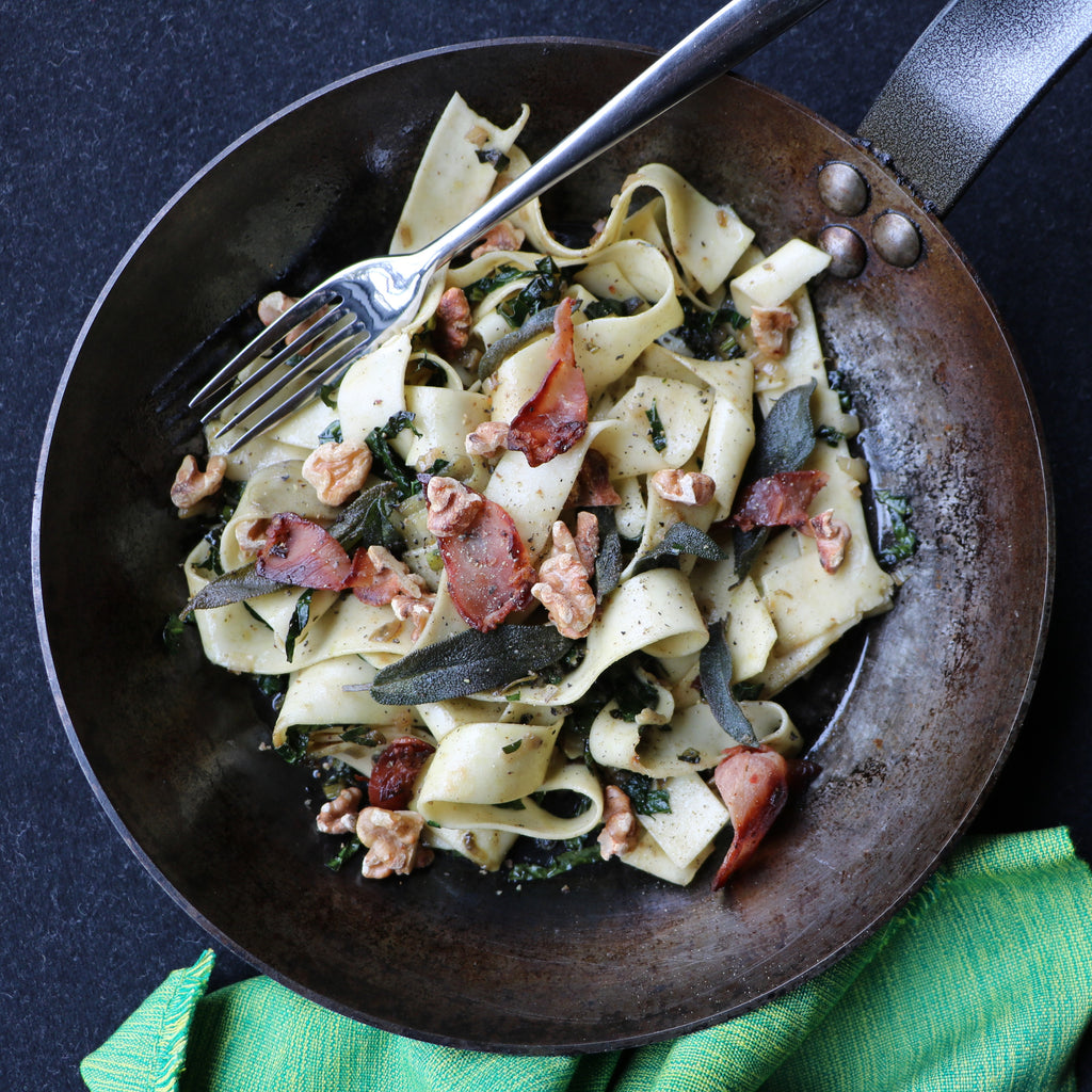 Pappardelle with Walnuts, Crispy Pancetta & Sage