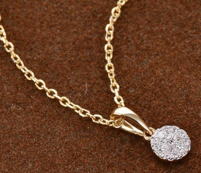 Diamond pendant (0.038ct) , with 14k (0.4g) Gold Necklace