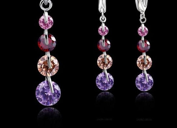 Sterling Silver with Zircon crystals  Jewelry Set - Pendant, necklace & earrings.