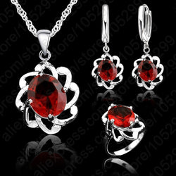Zircon crystal jewelry set - Necklace with pendant+ earrings & ring.
