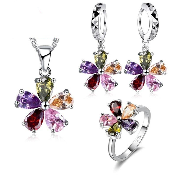 Sterling Silver with Multi color Zircon Jewelry Sets -  Necklace + earrings & Ring