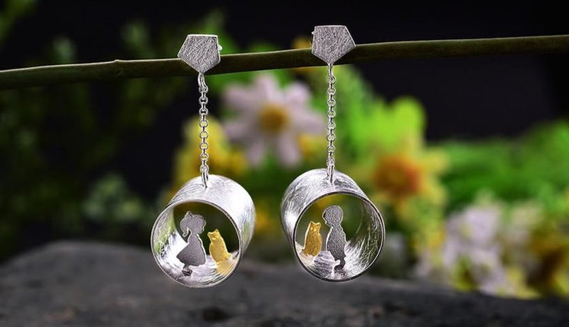 Handmade Lotus earrings made from 925 sterling Silver