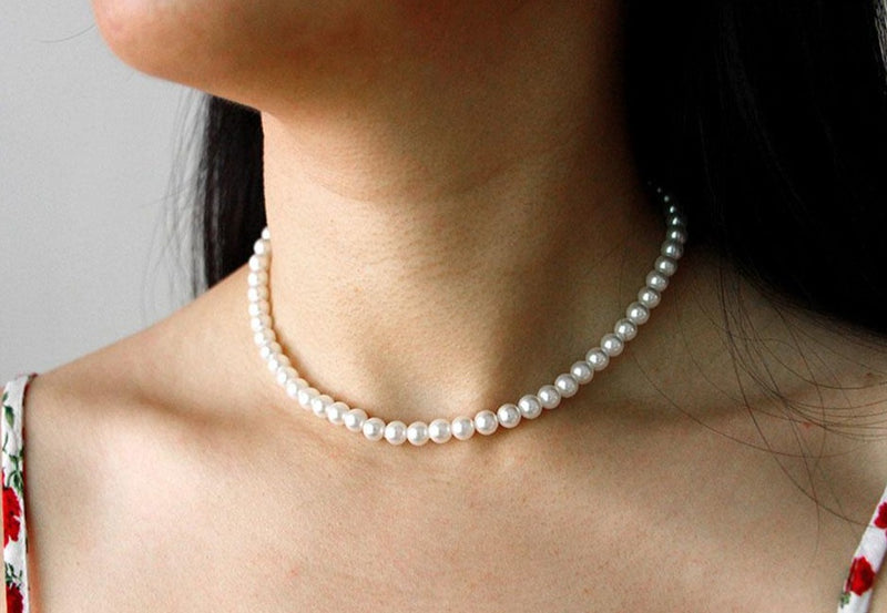 Pearl shell necklace with Silver (6mm)